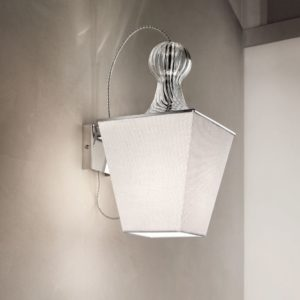 Lucernae lampada da parete in metallo vetro stoffa avorio 300x300 - Lucernae PA