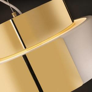 rollo pendant textured white   brass detail 06x10cm 300x300 - Rollo Suspended