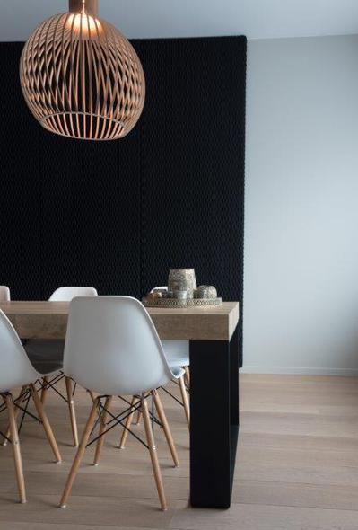 ondo black acoustic panels private house lamett parquet flooring belgium - Ondo